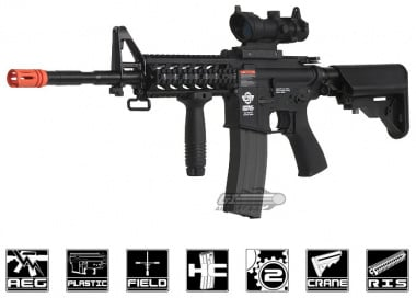 Combat Machine M4 Raider with Polymer RIS AEG Airsoft Gun ( Black ) ( Battery and Charger Package )