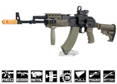 Javelin Airsoft Works Full Metal Tactical AK-74 Electric BlowBack AEG Airsoft Gun ( Tan / Battery & Charger Package )