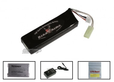 King Arms 11.1V 1600mAh LiPo Mini Battery Package ( Battery , Charger & Liposack )