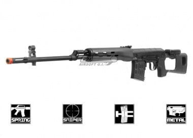 King Arms Full Metal Kalashnikov SVD Spring Sniper Rifle Airsoft Gun