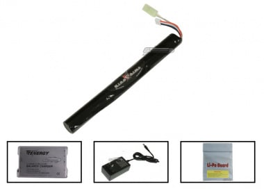 King Arms 11.1v 1600mAh 12C LiPo Stick Battery Package ( Battery , Charger & Liposack )
