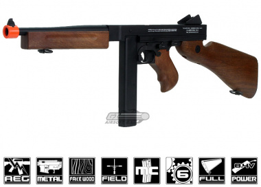 King Arms Full Metal / Fake Wood M1A1 Thompson AEG Airsoft Gun