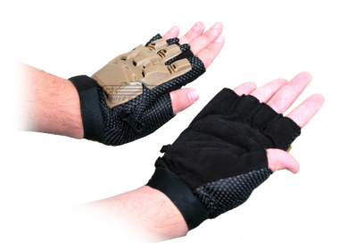 Lancer Tactical Armored Half Finger Gloves ( Brown / X-Large )