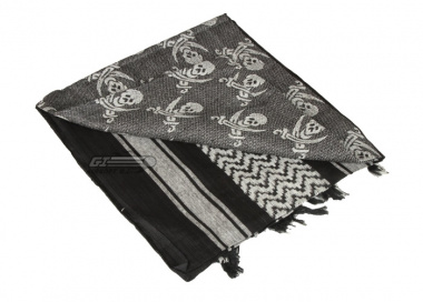 Lancer Tactical Jolly Roger Shemagh ( Black / White )