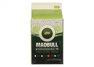 Mad Bull .25 g PLA (Biodegradable) 3000 BBs (Carton)