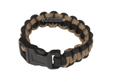 "Mil-Spec Cords Cobra Paracord Bracelets ( Coyote / Black / Size 5"" )"