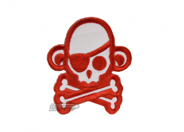 MM Skullmonkey Pirate Velcro Patch ( Red / White )