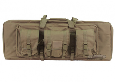 "Lancer Tactical 36"" Deluxe Molle Double Gun Bag w/ Flap (Tan)"