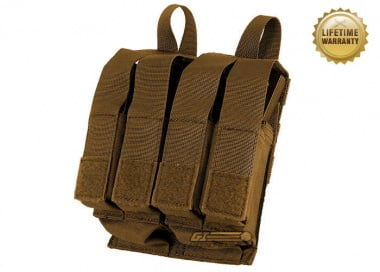 Pantac USA 1000D Cordura Molle Double M4 / M16 & Quadruple 9mm Magazine Pouch w/ Hard Inserts ( Coyote )