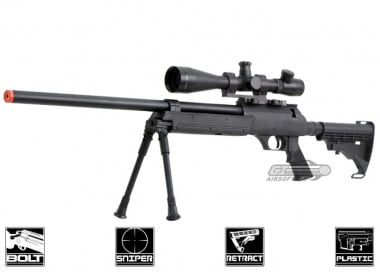 Well Full Metal ASR MB06 SR-2 Bolt Action Sniper Rifle Airsoft Gun ( BLK )