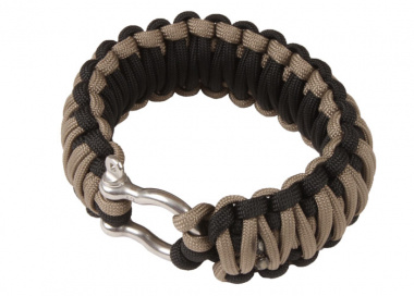"Saved By A Thread Double Cobra Paracord Bracelet w/ Shackle ( Black & Tan / 7.5"" )"