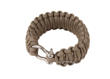"Saved By A Thread Double Cobra Paracord Bracelet w/ Shackle ( Tan / 7.5"" )"
