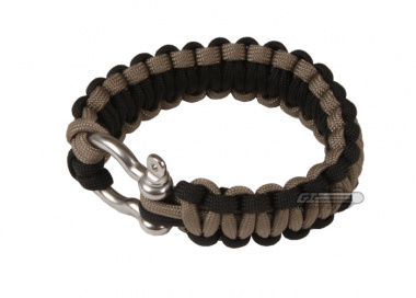 "Saved By A Thread Single Cobra Paracord Bracelet w/ Shackle ( Black & Tan / 6"" )"