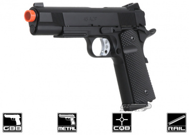 SOCOM Gear Full Metal Baer 1911 Ultimate Recon GBB Pistol Airsoft Gun ( Rail / CO2 Ready / Golfball Grips )