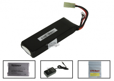 Spartan 7.4V 2500mah 15C LiPo Mini Battery Package ( Battery , Charger & Liposack )
