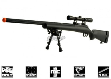 CYMA Full Metal M24 Bolt Action Sniper Rifle Airsoft Gun ( BLK / Scope / Bipod Package )