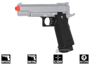 CYMA G6S Limited Class Two tone Spring Powered Pistol Airsoft Gun w/ Metal Slide ( Silver )