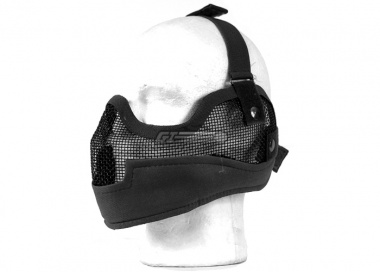 UK Arms Tactical Metal Mesh Half Mask with Ear Protection ( Blk )