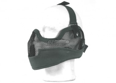 UK Arms Tactical Metal Mesh Half Mask with Ear Protection ( Foliage Green )