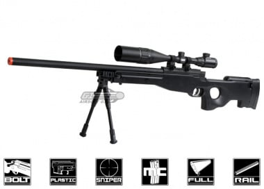 * Discontinued * Well Full Metal MB01A Bolt Action Sniper Rifle Airsoft Gun ( BLK / Scope Package )