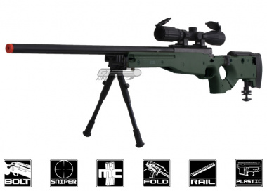Well Full Metal MB08 Bolt Action Sniper Rifle Airsoft Gun ( OD / Folding Stock )