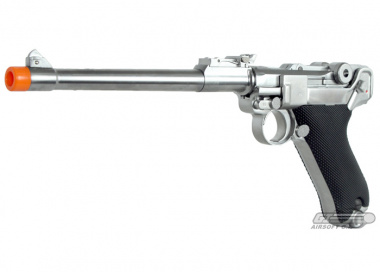 WE Full Metal Chrome Luger GBB Airsoft Gun ( Long )