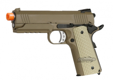 WE Full Metal 1911 4.3 Desert Warrior Airsoft Gun ( Railed Version )