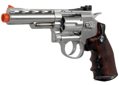 "WG Full Metal / Fake Wood 4"" Revolver CO2 Airsoft Gun ( Silver )"