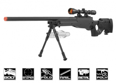 Well Full Metal MB08 Bolt Action Sniper Rifle Airsoft Gun ( BLK / Scope / Bipod Package )