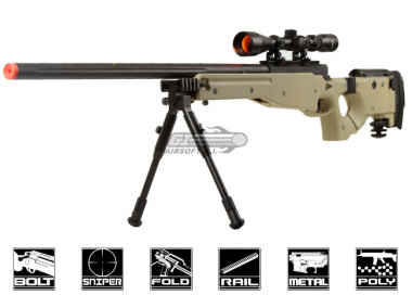 Well Full Metal MB08 Bolt Action Sniper Rifle Airsoft Gun ( TAN / Scope / Bipod Package )