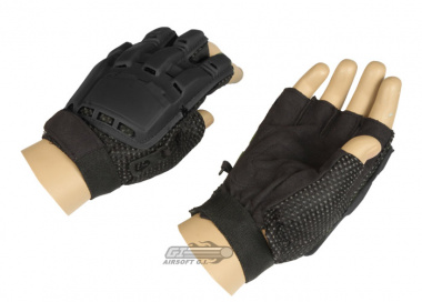 Lancer Tactical Armored Half Finger Gloves ( Black / Large )
