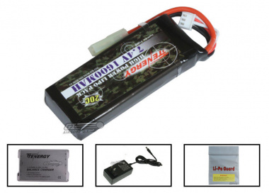 Tenergy 7.4V 1600mah LiPo Mini Battery Package ( Battery , Charger & Liposack )