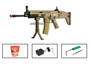 (Discontinued) G&G Full Metal G-MK16 L Airsoft Gun ( Battery / BBs / Charger Package / Tan )