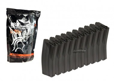 King Arms 120rd M4/M16 Mid Capacity AEG Magazine ( 10 Pack ) w/ Lancer .20 BBs Package