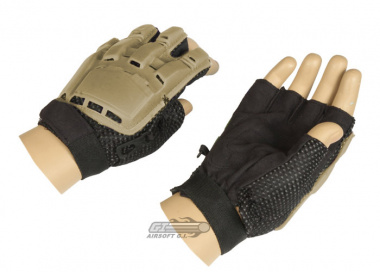 Lancer Tactical Armored Half Finger Gloves ( Brown / Large )