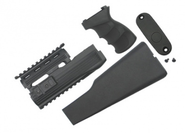 King Arms AK47 Railed Handguard / Grip / Stock ( BLK )