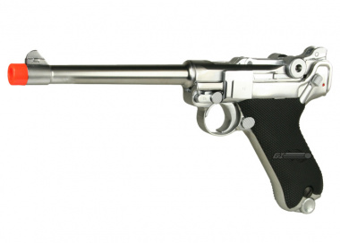 WE Full Metal Chrome Luger GBB Airsoft Gun ( MED )