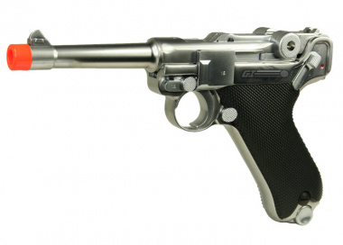 WE Full Metal Chrome Luger GBB Airsoft Gun ( Short )