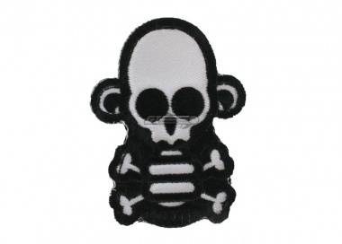 MM Stumpy Monkey Skull & Cross Bone Velcro Patch ( White )