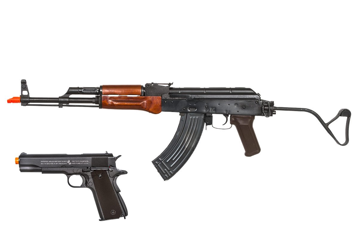 March Mayhem Delta Series E&L AK47 AIR MOD A & Colt 1911A1 Co2 Airsoft Gun Package