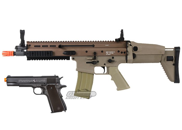 March Mayhem FN Herstal SCAR-L CQC & Colt 1911A1 Co2 Airsoft Gun Package